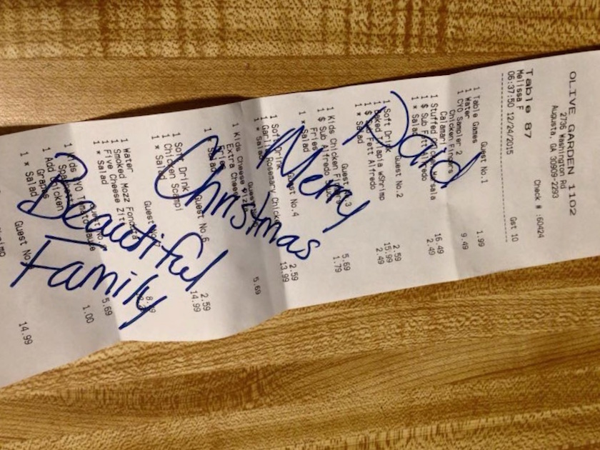 The Muslim family's dinner bill, paid for by a stranger on Christmas.