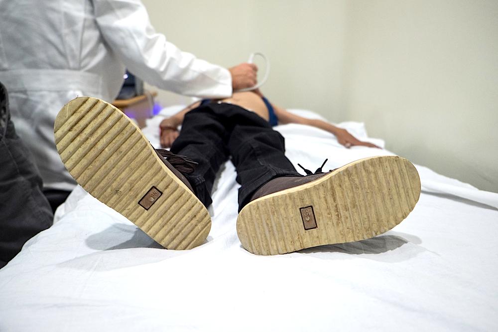 A photo of Aland receiving an echo screening