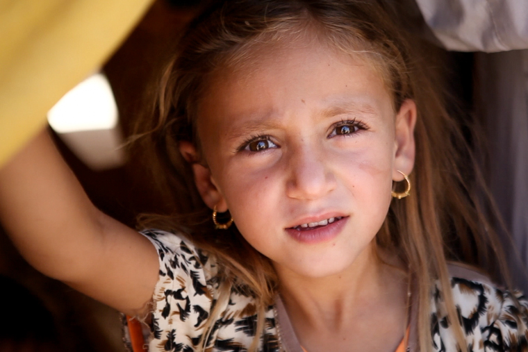 A photo of an Iraqi Christian girl recently displaced by ISIS
