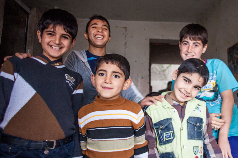 A group of kids living at Saqr Quraish School now, from a variety of ethnic backgrounds.
