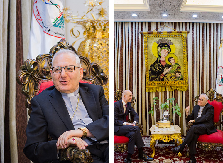 Patriarch Louis Sako, head of the Chaldean Catholic Church in Iraq with Jeremy Courtney.