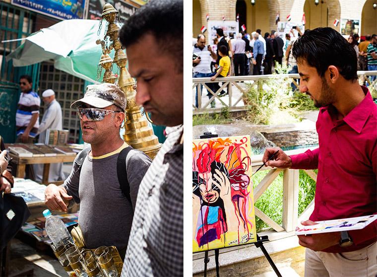 Artists line Baghdad's Mutanabi Street.