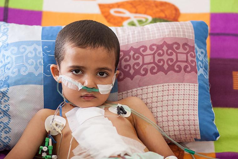 Hamam just woke up after receiving heart surgery. He's a little grumpy.