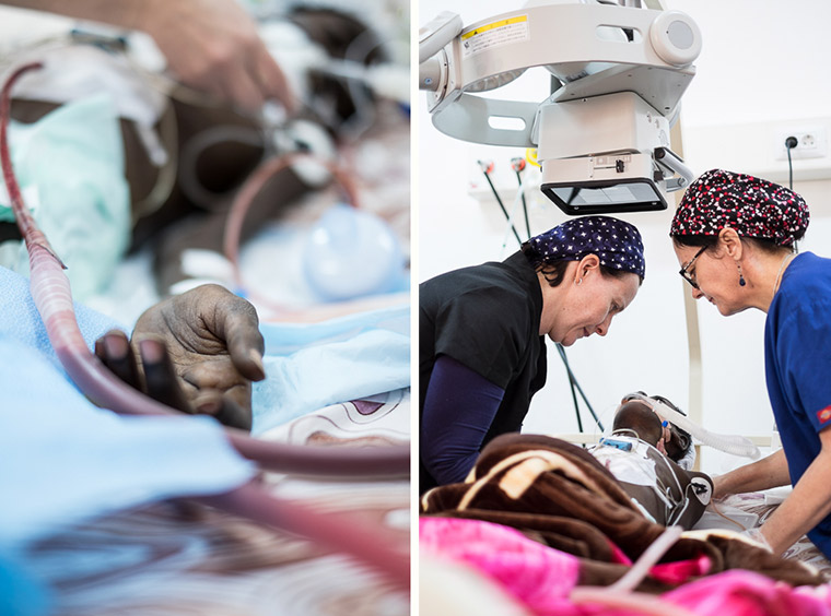 Ramadan gets settled into the intensive care unit after his lifesaving heart surgery.