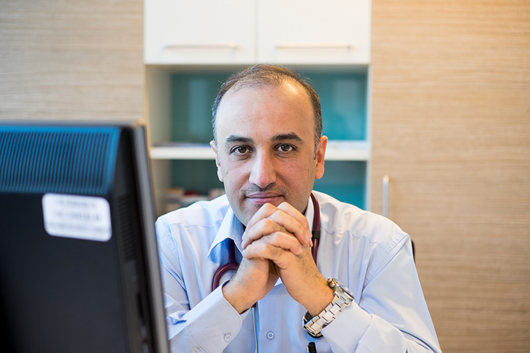 Dr. Firas in his office at Faruq Medical Center, Iraq.