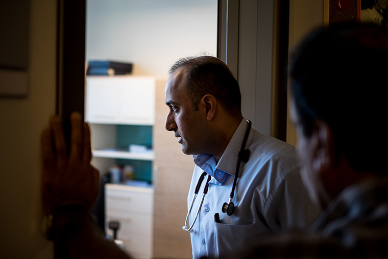 Dr. Firas at his office at Faruq Medical Center, Iraq.
