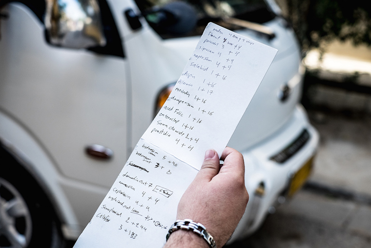 A list of medications being prepared for distribution to displaced families at Bzebez bridge, Iraq.