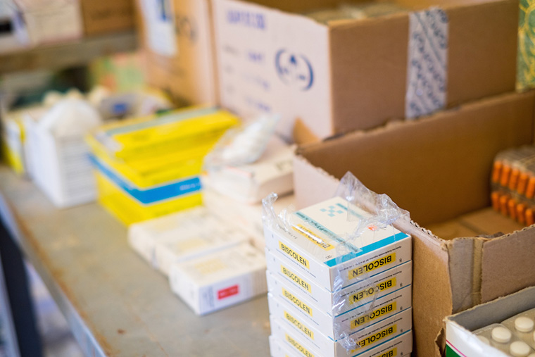Medications distributed to displaced residents, by Dr. Nasir.