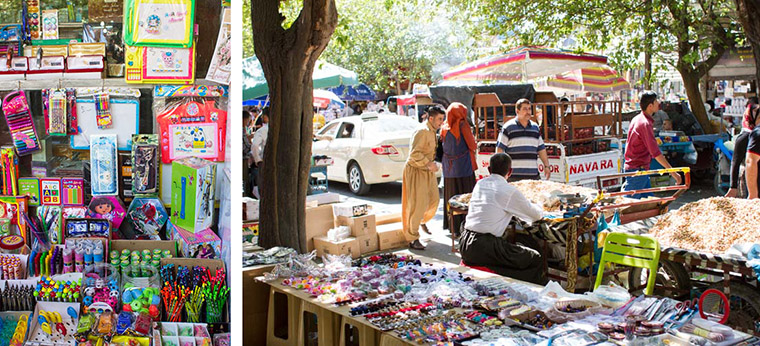 The bazaar was crowded with shoppers the day we took displaced children to choose school supplies.
