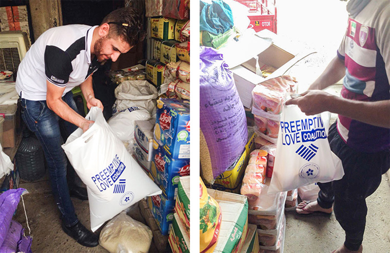 Emergency food relief is delivered in bags clearly marked with our logo, so recipients can trust that the food will be safe.