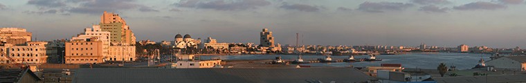 A panoramic view of the harbour at Benghazi, Libya.