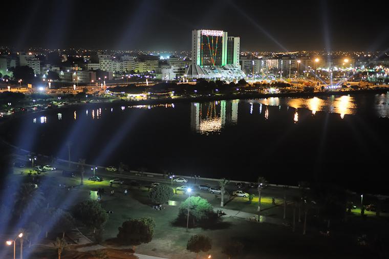 Urban Benghazi at night.