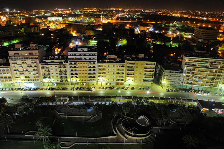 The city of Benghazi, Libya at night.
