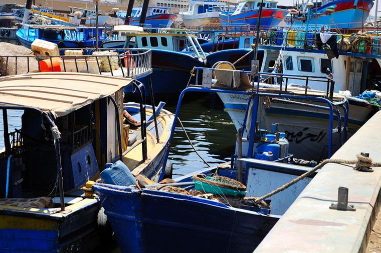 Fishing boats in the harbour of Benghazi, Libya.