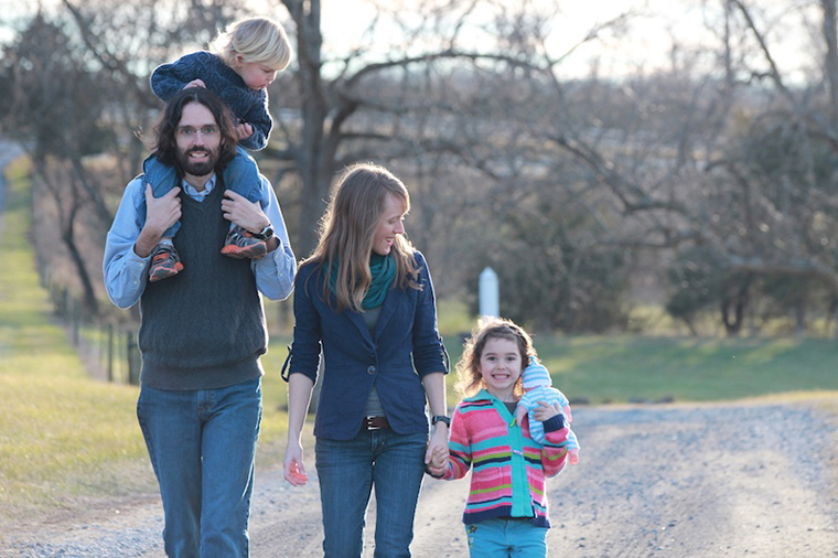 Writer Crissy Williams, her husband Adam and their children, enjoy a back-road walk together.