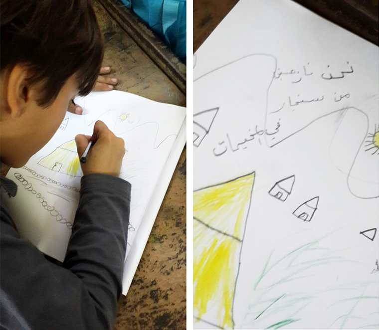 He is displaced and lives in a tent, but you are helping him to learn the emotional tools to deal with the trauma inflicted by ISIS.