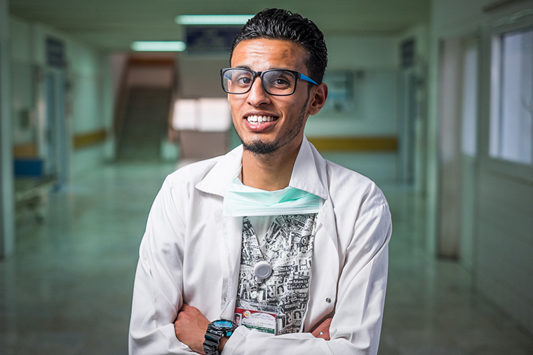 A Libyan nurse, taking time out between patient rounds, to pose for a photo.