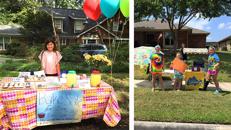 Olivia and the Verriere kids created a bake sale and a lemonade stand in order to help kids in the conflict zones of the Middle East!