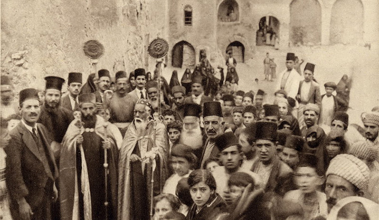 An historical photograph of the Syriac-Orthodox St. Ephrem Church in Mosul, Iraq.