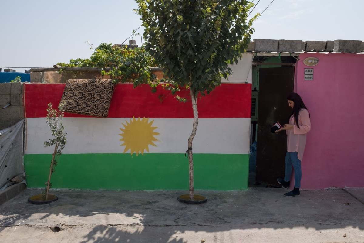 Wall decorated with the flag of Kurdistan