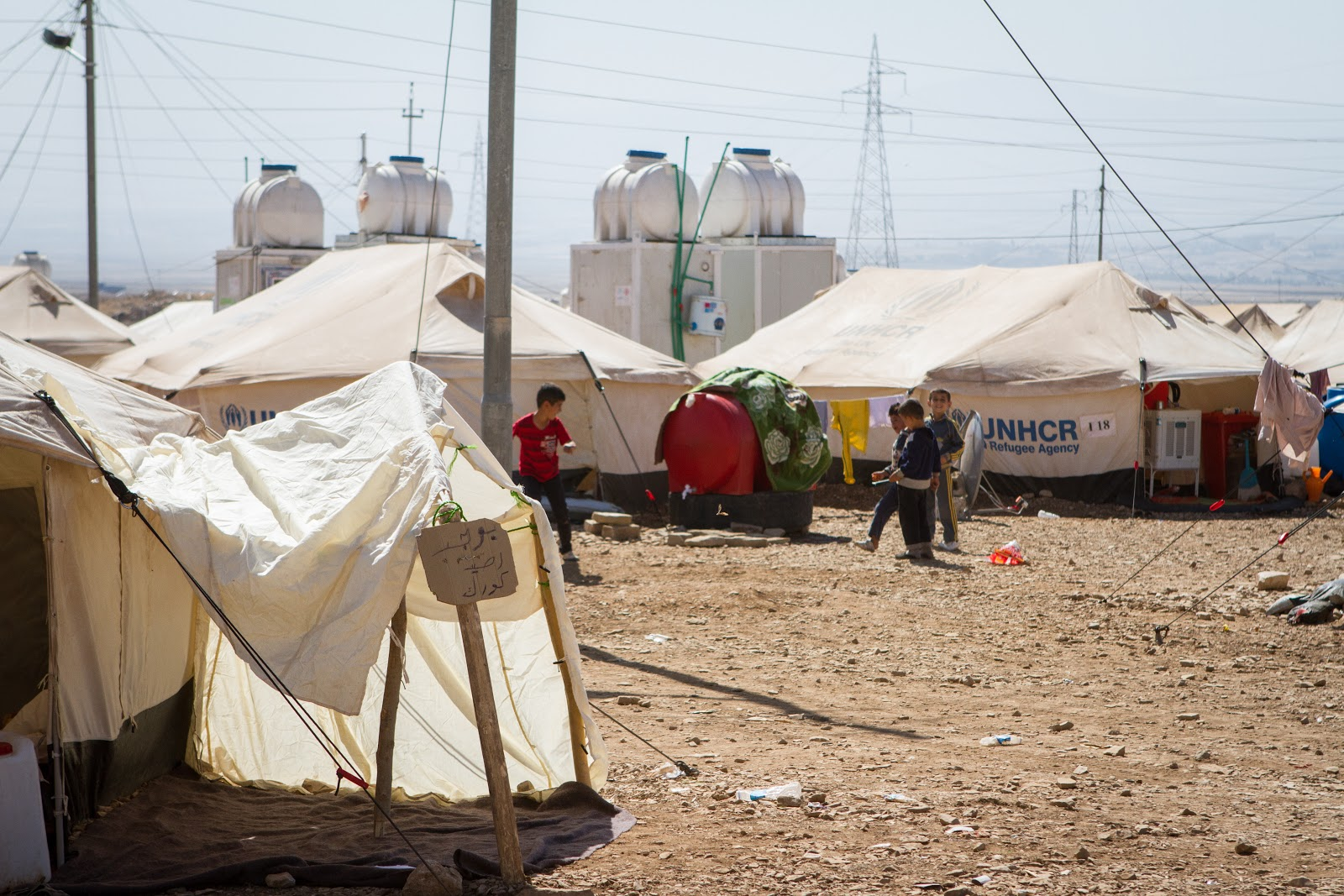 Crisis shelters for Syrian refugees at the transit camp