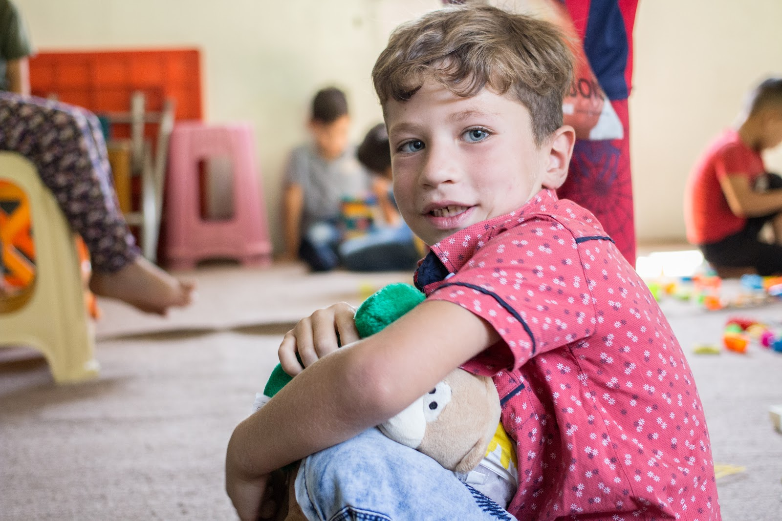 Mohammad at the Child Friendly Space inside the refugee camp, 2018.